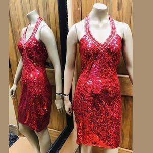 Niteline Della Roufogali Red Sequins Halter Dress